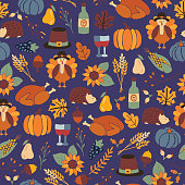 Thanksgiving dinner seamless vector pattern with pumpkins, hats, sunflowers, turkey, hedgehog, wine bottle, leaves. Autumn repeating background for holiday party invitation card, fabric, packaging