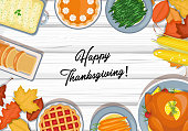 Vector illustration of Thanksgiving dinner table