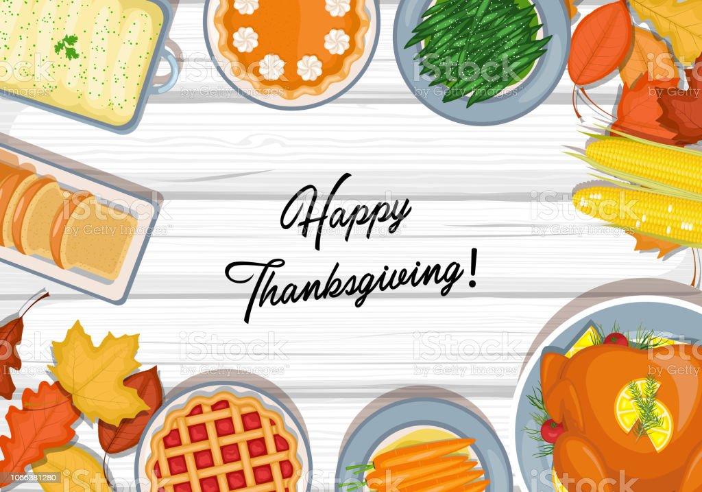 Thanksgiving dinner table vector art illustration