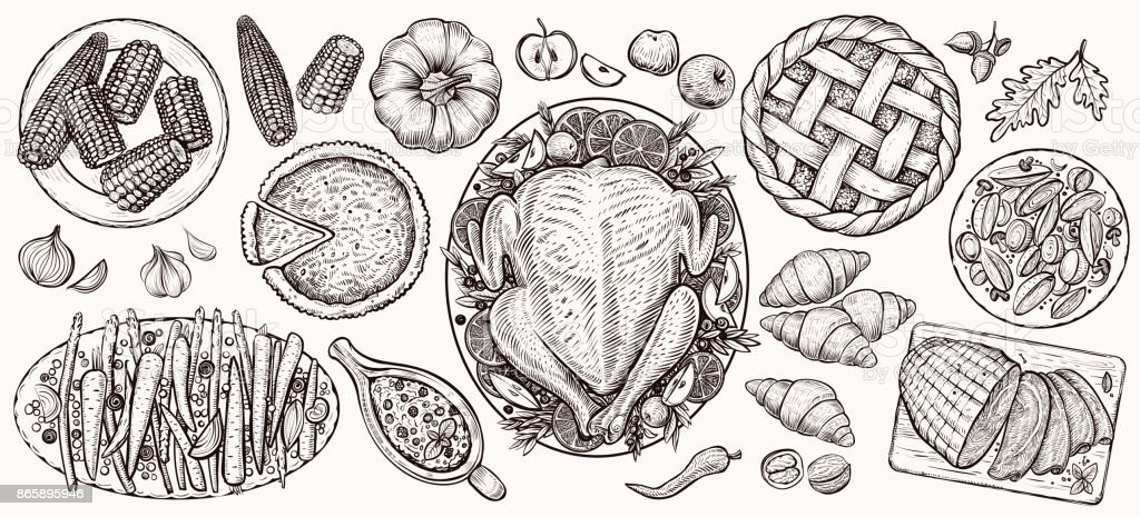 Dîner de Thanksgiving, vue de dessus. Illustrations réalistes vecteur alimentaire. - Illustration vectorielle