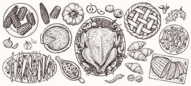 thanksgiving dinner, top view. food vector realistic illustrations. - thanksgiving turkey stock illustrations
