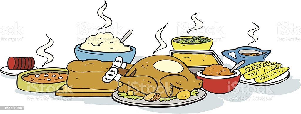 Thanksgiving Dinner Turkey vector art illustration