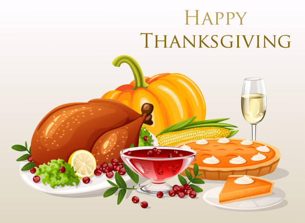 thanksgiving dinner - thanksgiving turkey stock illustrations