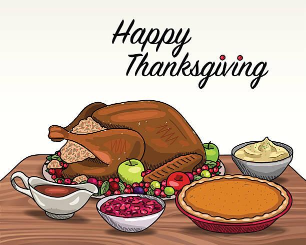 stockillustraties, clipart, cartoons en iconen met thanksgiving dinner - breakfast table
