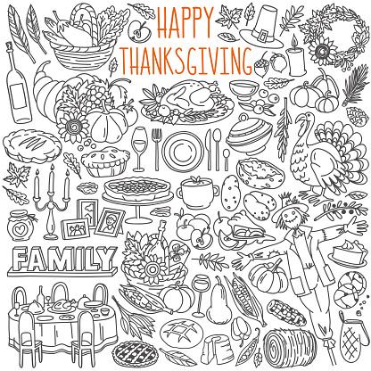Thanksgiving doodle set. Traditional symbols, food and drinks - turkey, pumpkin pie, corn, wine.