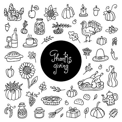 Thanksgiving doodles set. Traditional symbols sketch collection,food,drinks,turkey, pumpkin,corn,wine,wheet,vegetables.hand drawn Doodle set of objects.Let s celebrate Happy Thanksgiving doodles set.