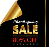 Thanksgiving Day eighty percent sale on a golden and black curled luxury paper.