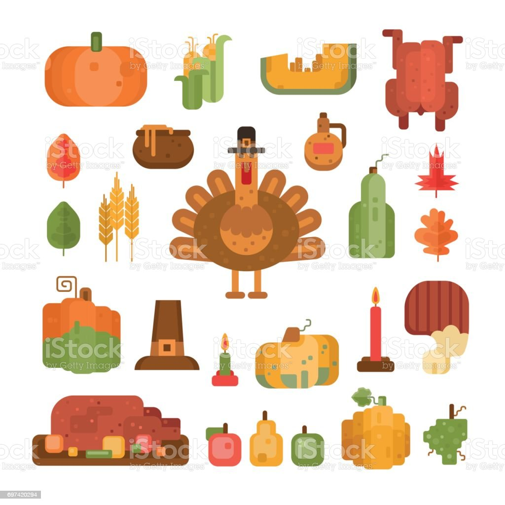 Thanksgiving Elements And Symbols Set Stock Vector Art More Images