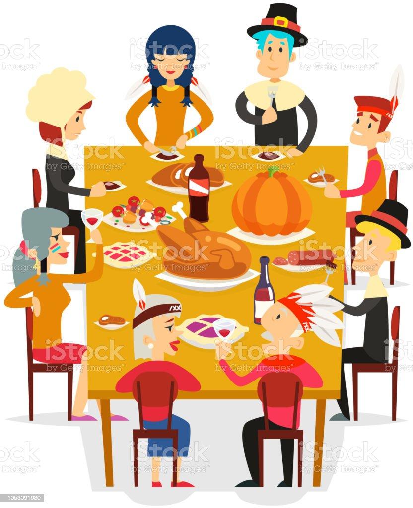 Freunde Der Familie Thanksgiving Essen Essen Kuchen Turkei Kurbis