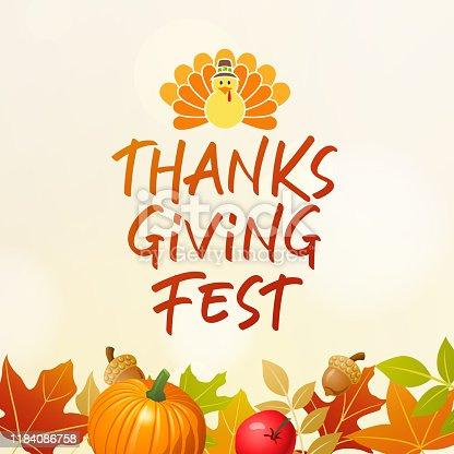 istock Thanksgiving Fest with Turkey 1184086758