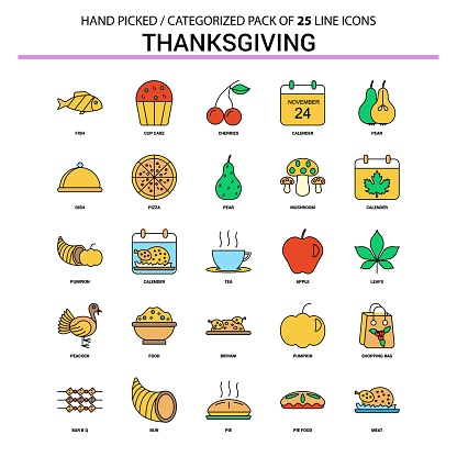 Thanksgiving  Flat Line Icon Set - Business Concept Icons Design