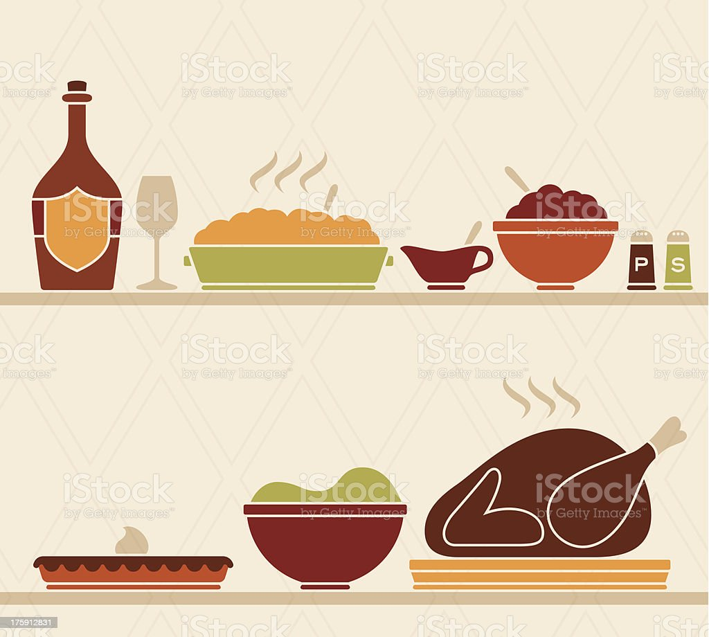 Thanksgiving Food vector art illustration