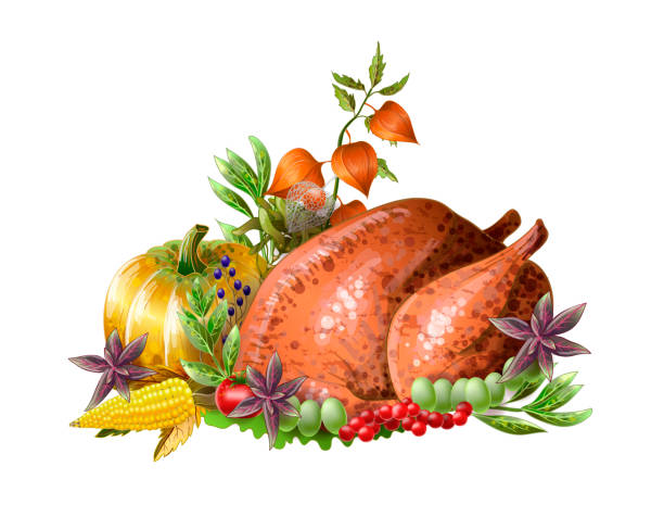 thanksgiving  fried turkey with vegetables and herbs isolated. vector. - thanksgiving dinner stock illustrations