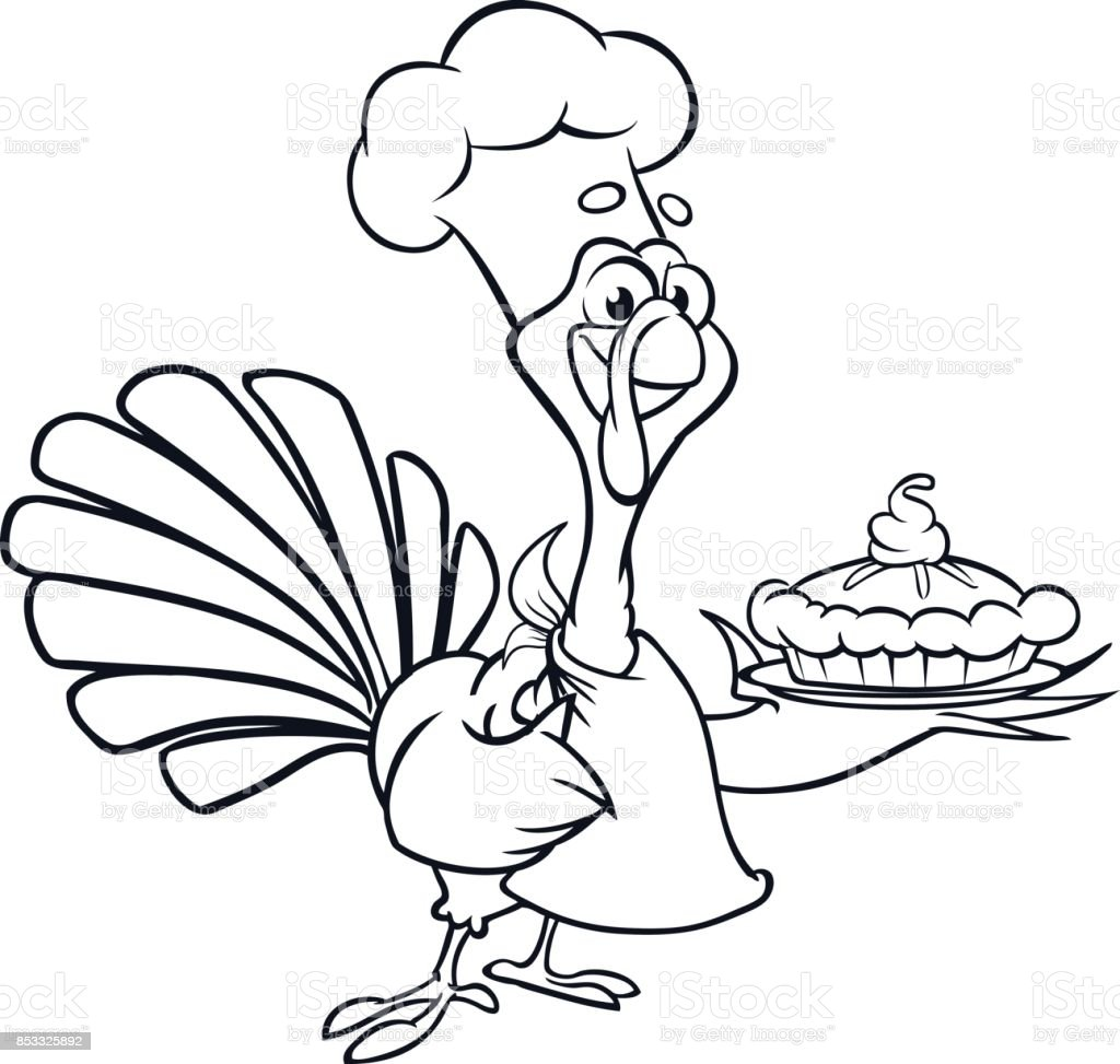 Uncategorized Turkey Cartoon Drawing thanksgiving funny cartoon turkey chief cook serving pumpkin pie outline strokes vector for