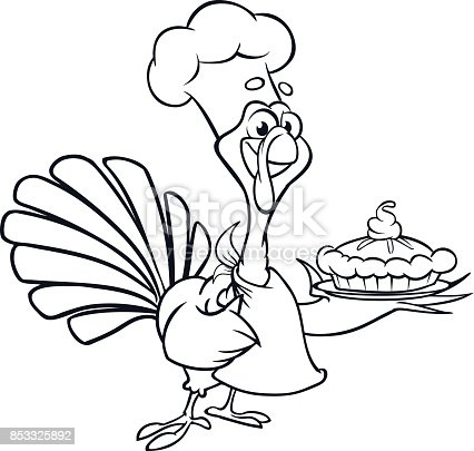 istock Dibujos animados de acción de gracias Turquía con tenedor y ...
