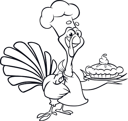 Thanksgiving Funny Cartoon Turkey Chief Cook Serving ...
