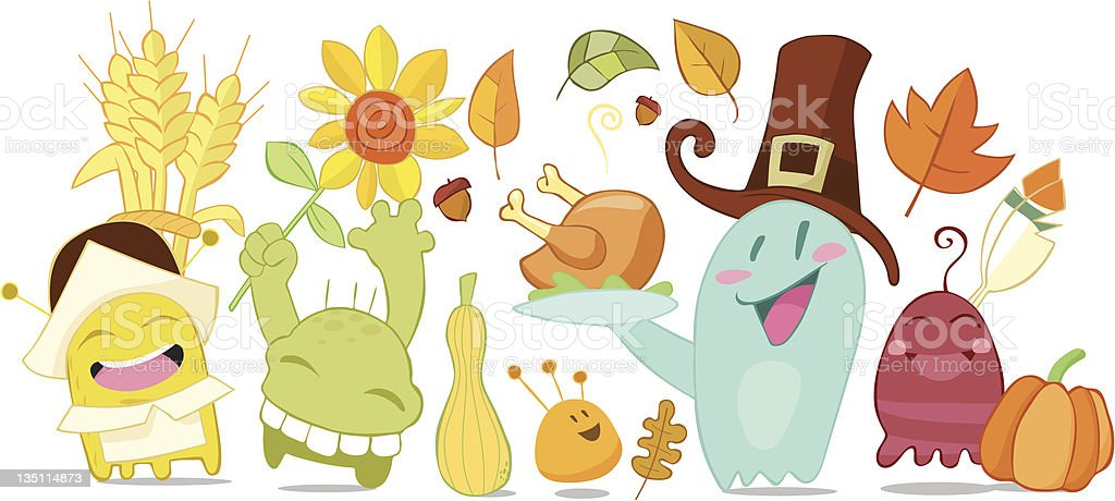 Thanksgiving funny monsters royalty-free thanksgiving funny monsters stock  vector art & more images