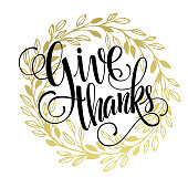 Thanksgiving - gold glittering lettering design. Vector illustration