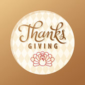 Gold colored greeting card for the Thanksgiving Day with symbol of turkey cartoon outline