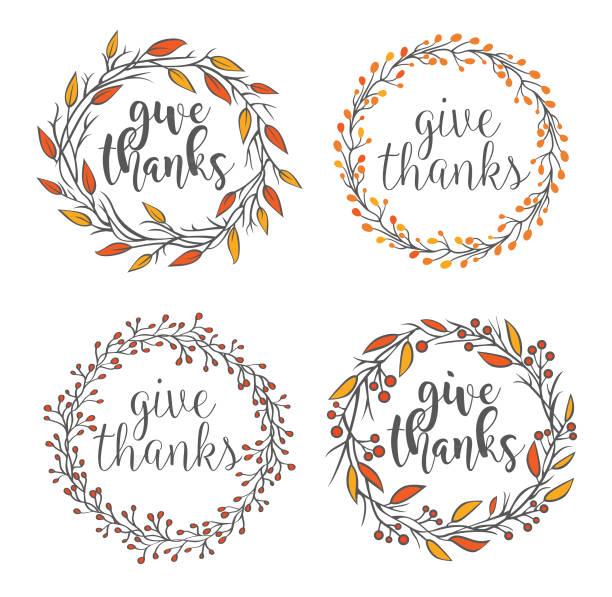 Thanksgiving greeting badges Vector illustration of the thanksgiving greeting badges signature collection stock illustrations