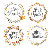 Vector illustration of the thanksgiving greeting badges
