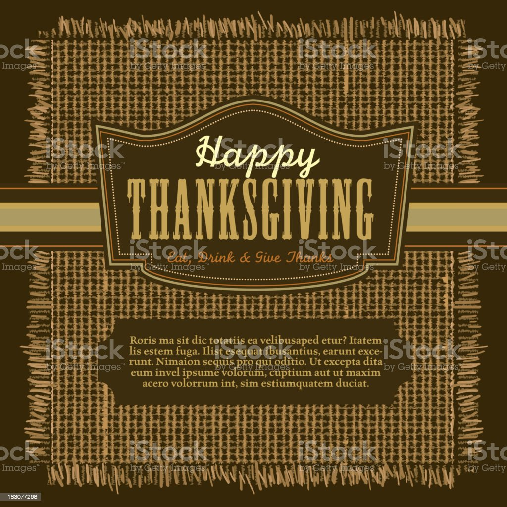 Thanksgiving greeting card design template square composition vector art illustration