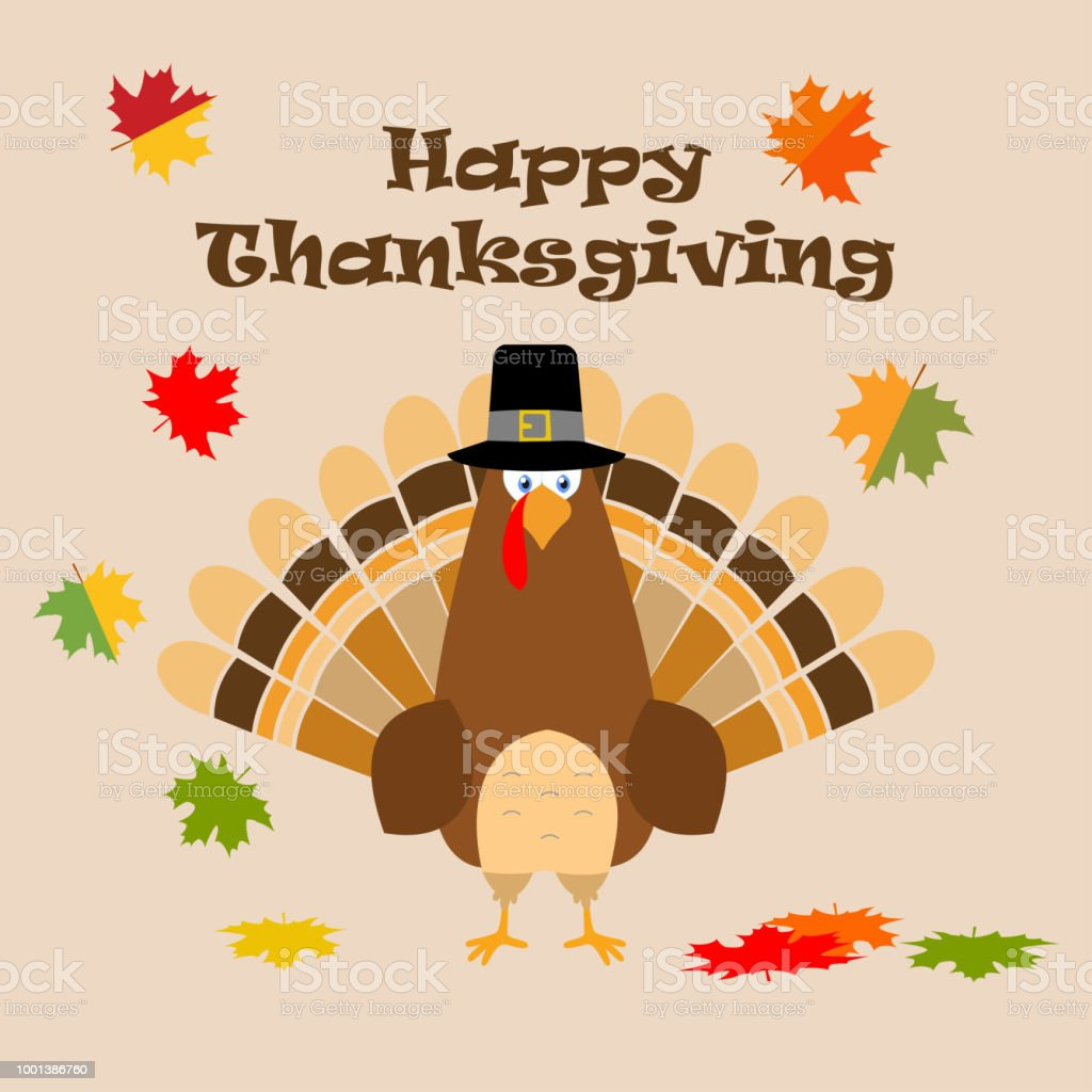 Thanksgiving Greeting Card Turkey Bird Pilgrim Hat Funny Cartoon