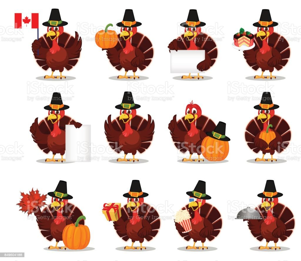 Thanksgiving greeting card with a turkey bird wearing a Pilgrim hat. Set vector art illustration