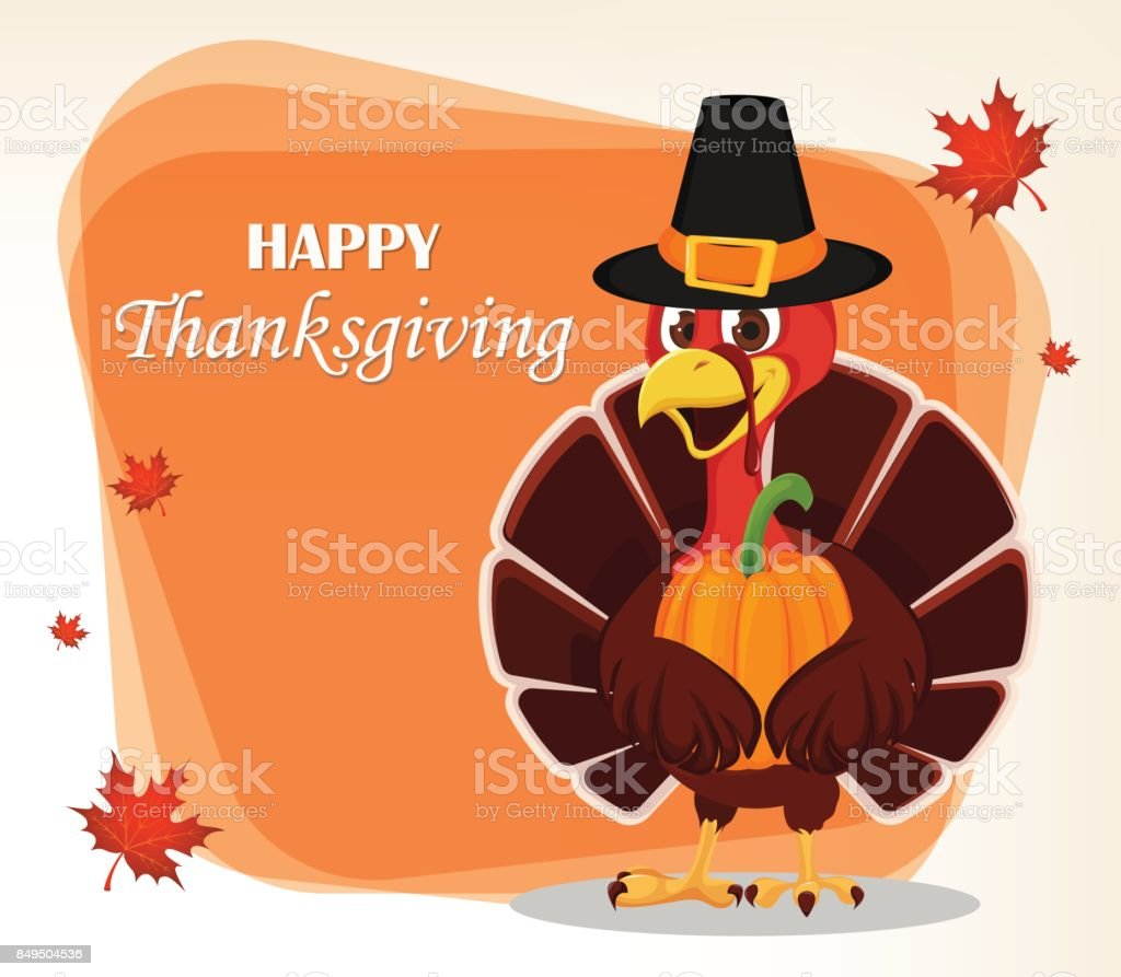 Thanksgiving greeting card with a turkey bird wearing a Pilgrim hat and holding pumpkin vector art illustration