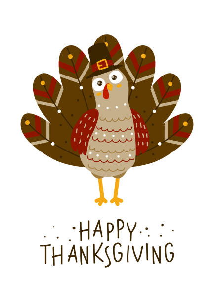 thanksgiving greeting card with cute turkey - thanksgiving turkey stock illustrations