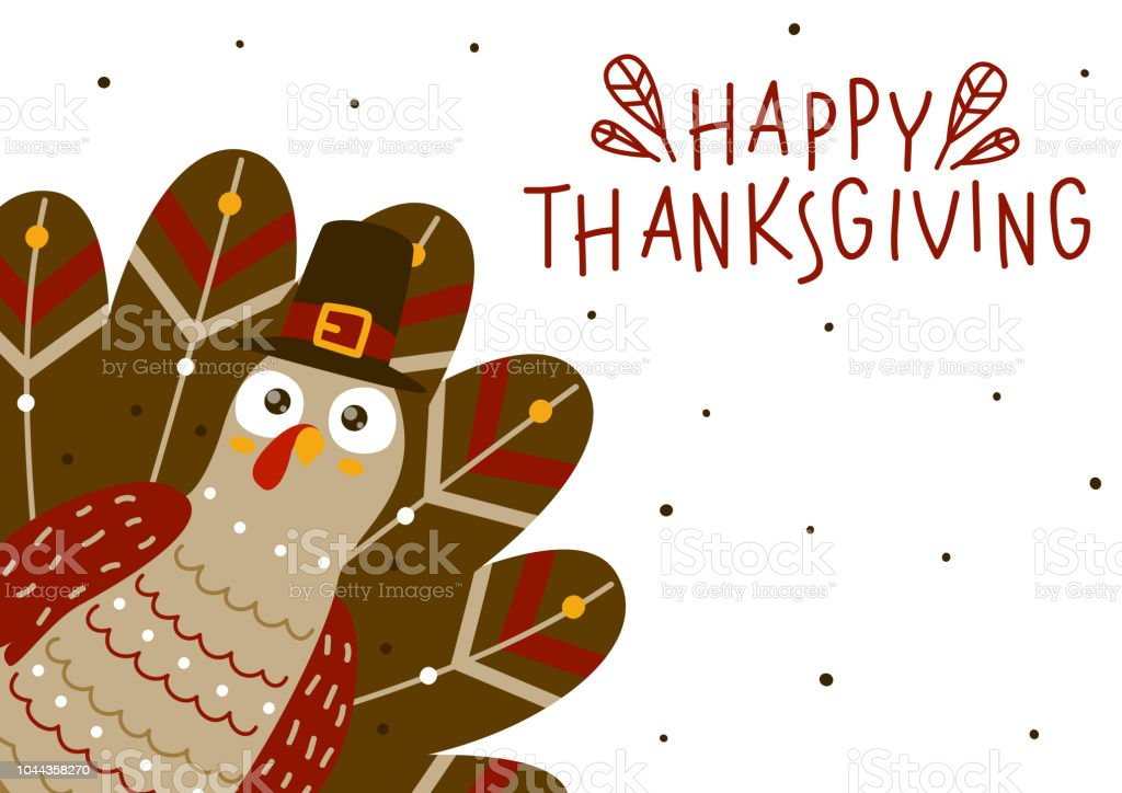 Thanksgiving greeting card with cute turkey vector art illustration