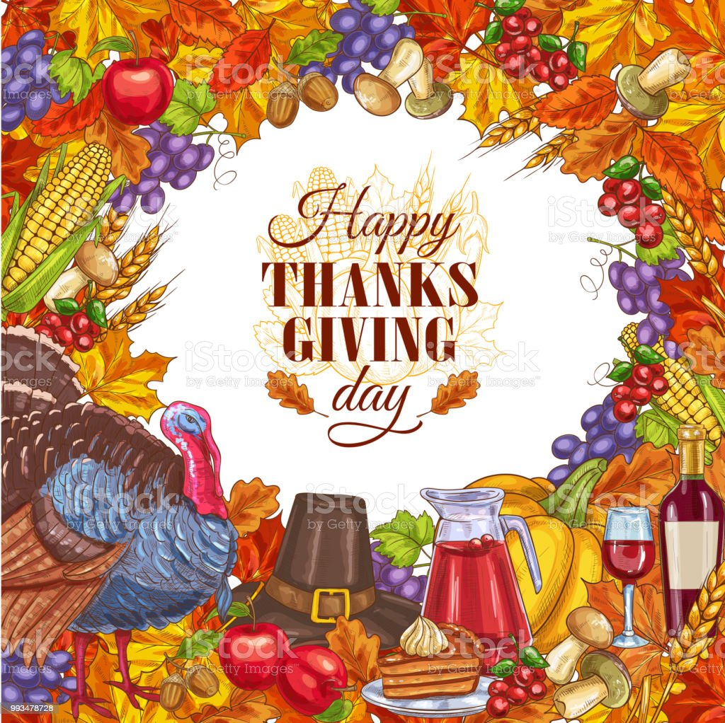 Thanksgiving Greeting Card With Vegetables Stock Vector Art More