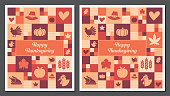 Thanksgiving greeting cards, square, and tall formats made of an abstract mosaic background with related icons and symbols.