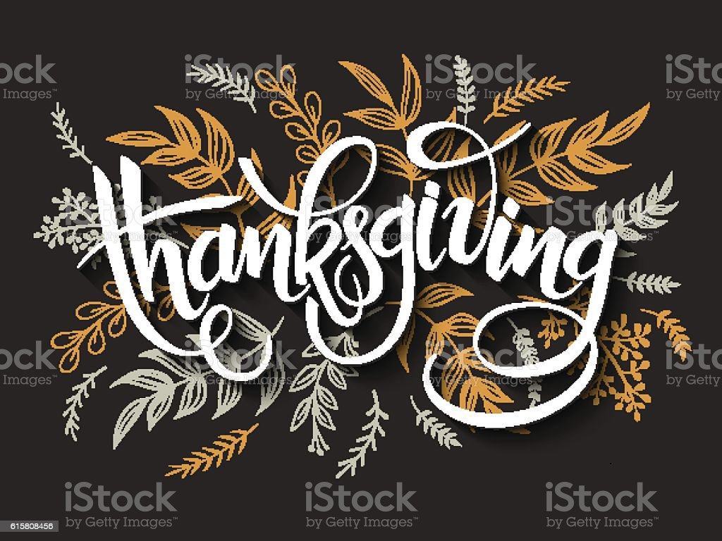 thanksgiving greeting lettering label with doodle brunches and leaves vector art illustration
