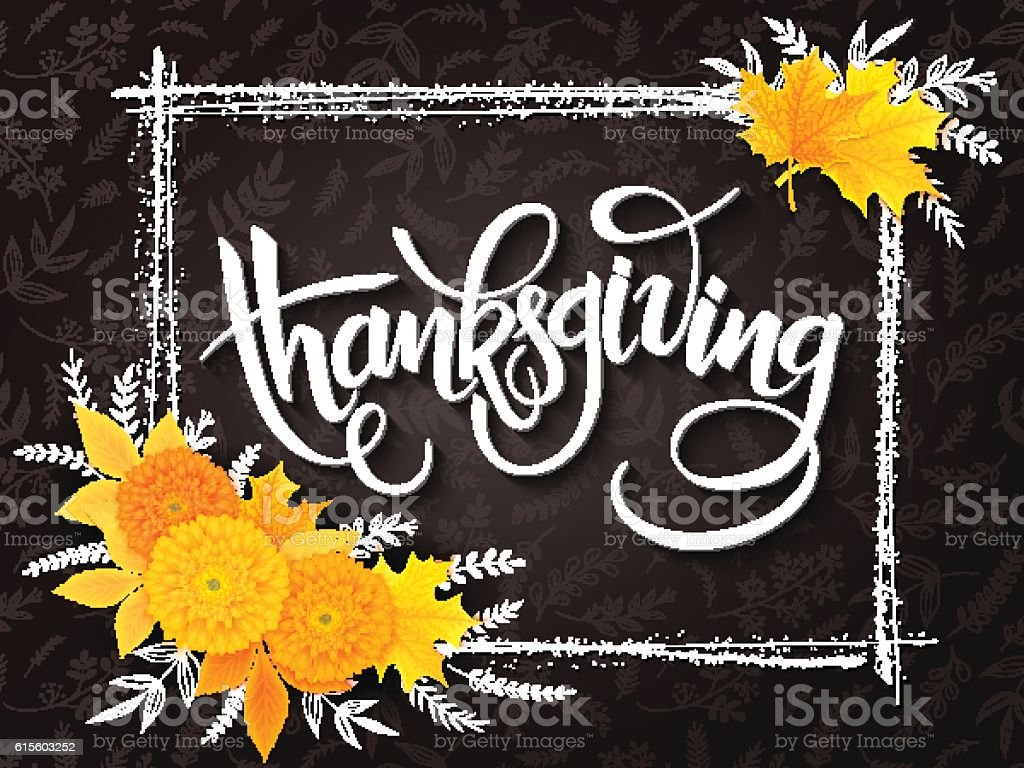 thanksgiving greeting lettering phrase with frame, chrysanthemum bouquet vector art illustration