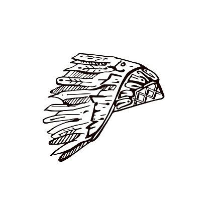 Thanksgiving hand drawn Indian headdress on white background