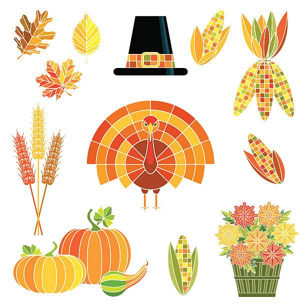 thanksgiving herbst-set - flaschenkürbis stock-grafiken, -clipart, -cartoons und -symbole