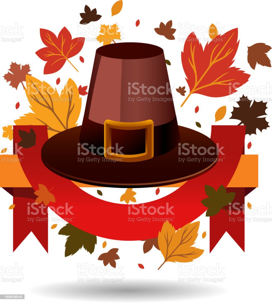 Thanksgiving hat with background leaves royalty-free stock vector art