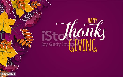 Thanksgiving holiday banner with congratulation text. Autumn tree leaves on purple background. Autumnal design for fall season poster, thanksgiving greeting card, paper cut style, vector illustration