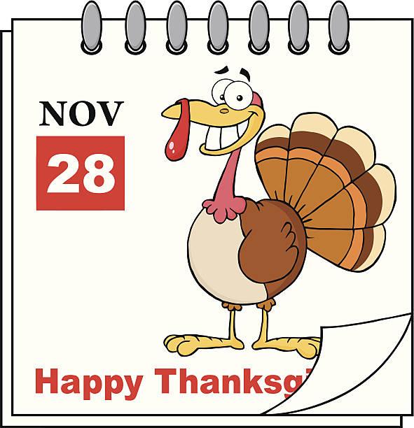 感謝祭の祝日カレンダーにカットイラスト、トルコ - 野生動物のカレンダー点のイラスト素材/クリップアート素材/マンガ素材/アイコン素材