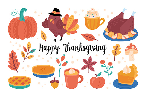 Thanksgiving holiday cute elements set. Childish print for cards, stickers and party invitations.