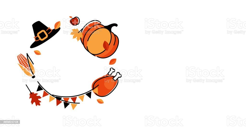 Thanksgiving Holiday Cute Symbols Isolated On White Stock Vector Art