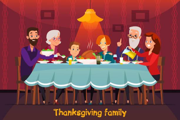 illustrazioni stock, clip art, cartoni animati e icone di tendenza di concetto di banner vettoriale piatto per le vacanze del ringraziamento - tavola imbandita