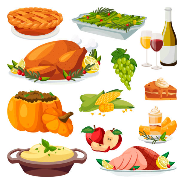 Thanksgiving holiday menu design elements. Vector flat cartoon illustration. Traditional holiday home made meal Thanksgiving holiday menu design elements. Vector flat cartoon illustration. Traditional holiday home made meal. Roasted turkey, pie, green beans and pumpkin smoothie. dinner stock illustrations