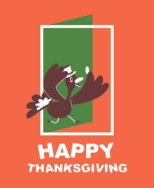thanksgiving lächeln türkei mit mütze, die eingabe der tür - türposter stock-grafiken, -clipart, -cartoons und -symbole