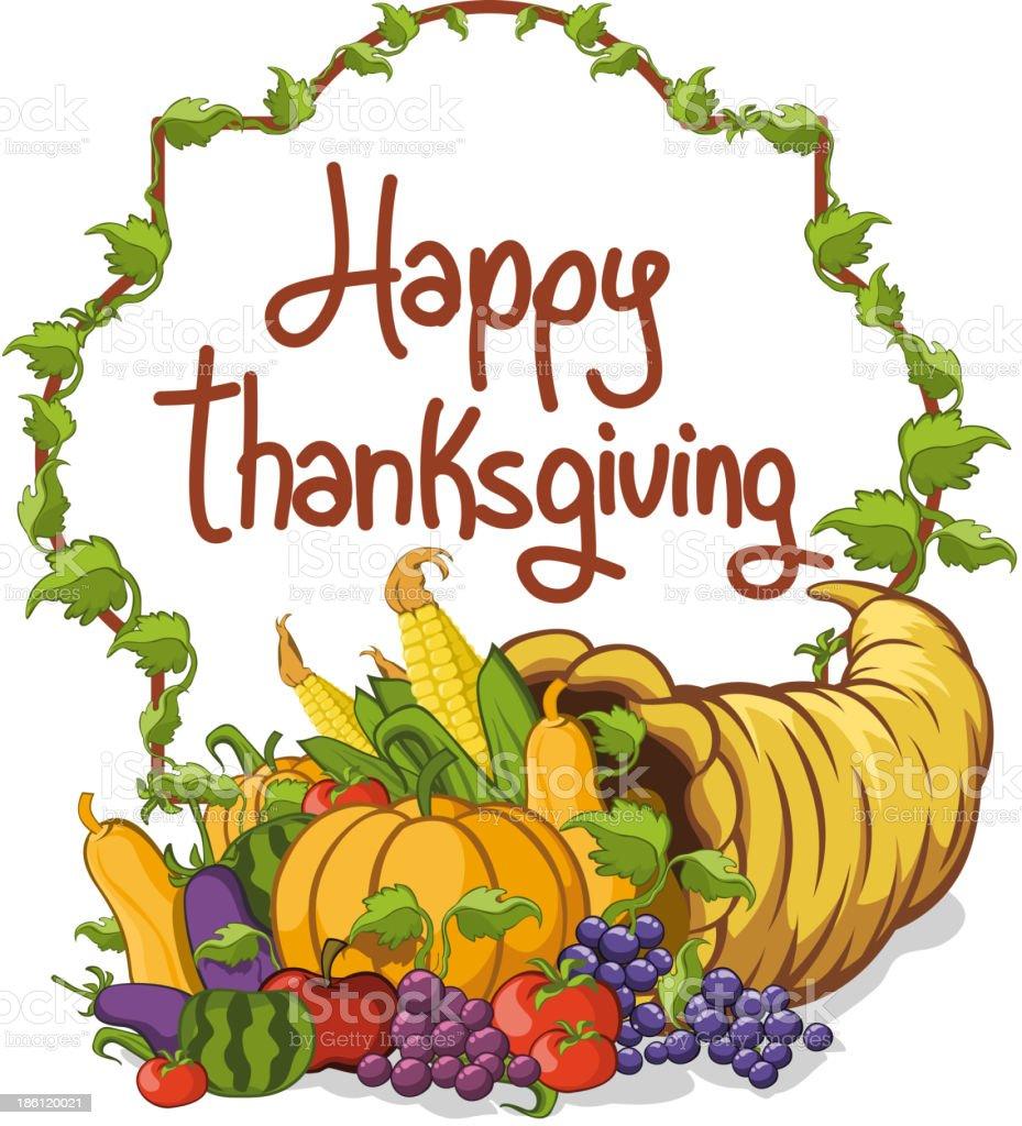 Thanksgiving Horn of Abundance vector art illustration