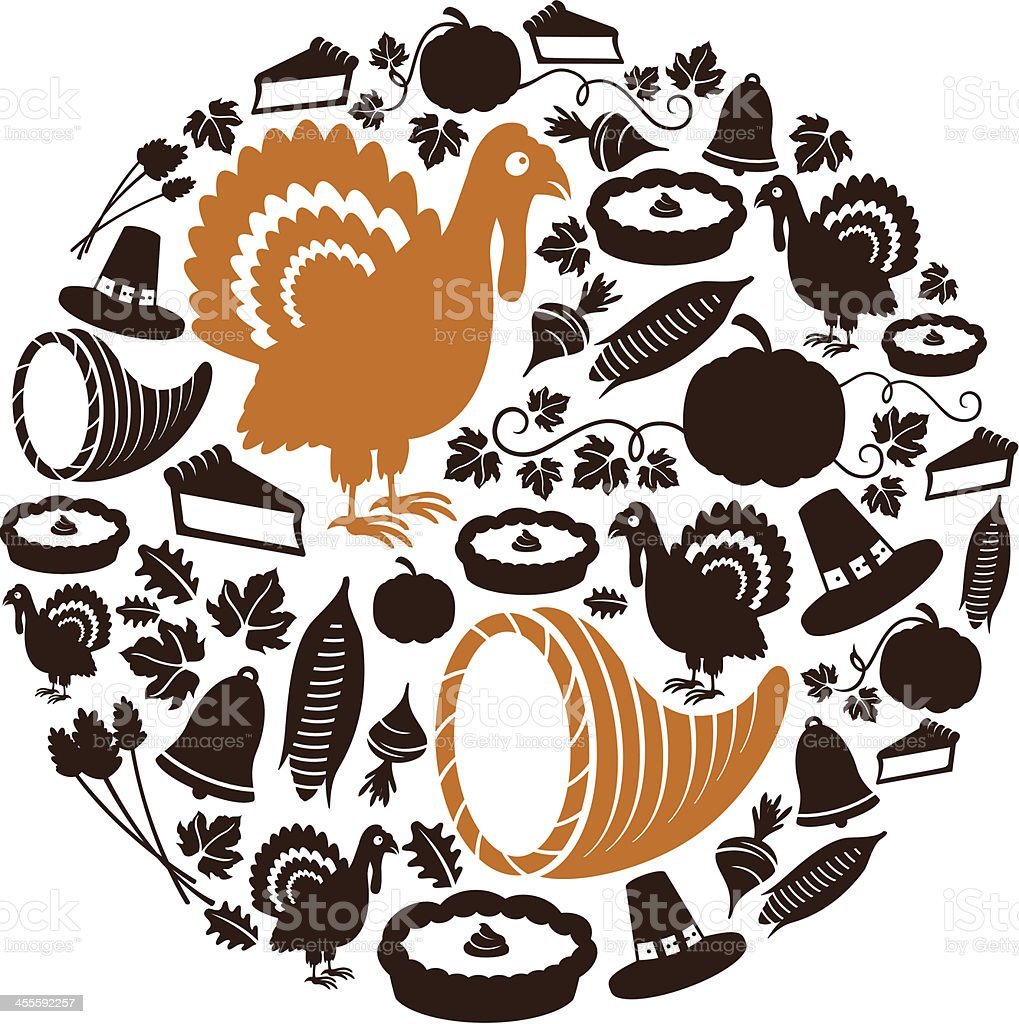 Thanksgiving Icon Montage vector art illustration