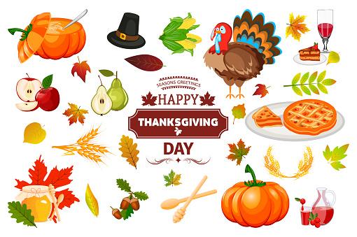 Thanksgiving icons autumn pumpkin traditional holiday food harvest celebration vector illustration