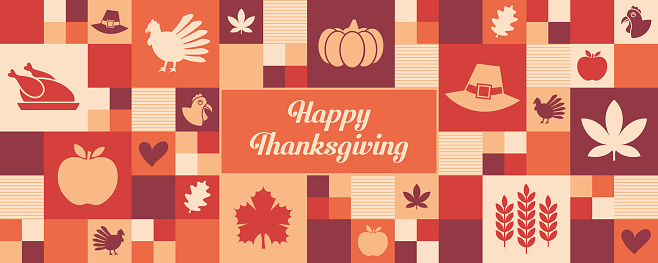 Thanksgiving icons banner/greeting card