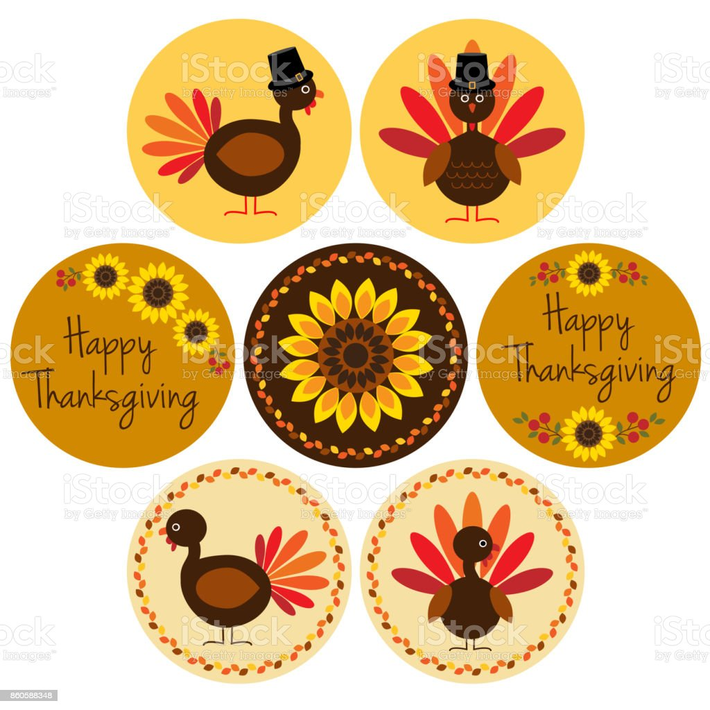 Thanksgiving Icons In Circle Frames Stock Vector Art & More Images ...